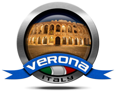 amphitheatre: Metal icon with Italian flag, blue ribbon with text Verona, with the most important monument of the city, the Arena of Verona, I-III century - Roman amphitheater Stock Photo
