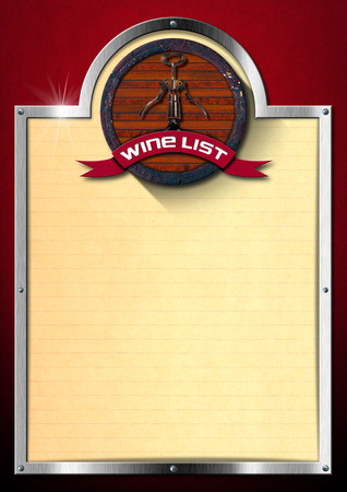 Red velvet background with metal frame and lined yellow paper, old wooden barrel and corkscrew with ribbon and text wine list. photo