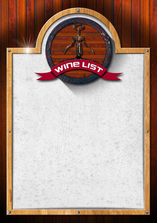 Wooden background with wooden frame and spotted white paper, old wooden barrel and corkscrew with ribbon and text wine list. photo