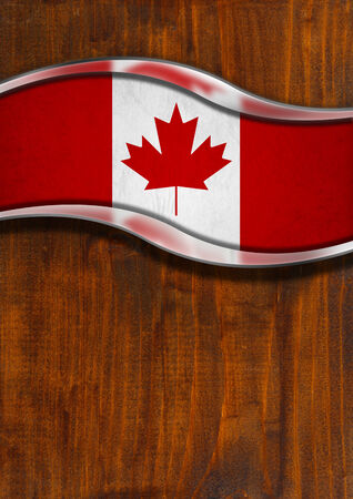 Flag of Canada in a wooden and metallic background with reflections photo