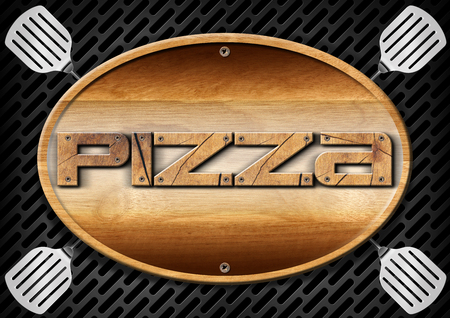 wooden signboard: Oval wooden signboard with text pizza and four spatulas on a dark metallic grill