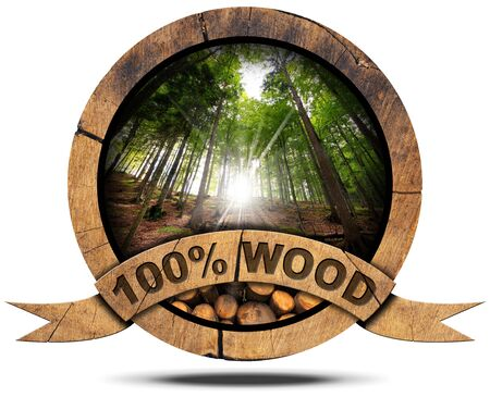 Wooden icon with trunks of trees cut and green forest with sun rays, wooden ribbon and text, 100% (percent) wood. Isolated on white background photo