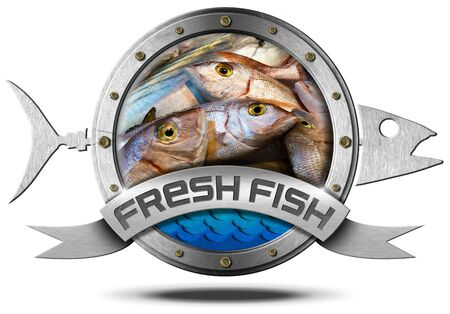 bream: Metallic icon with metallic fish and ribbon with inside fresh fishes at market. Isolated on a white background
