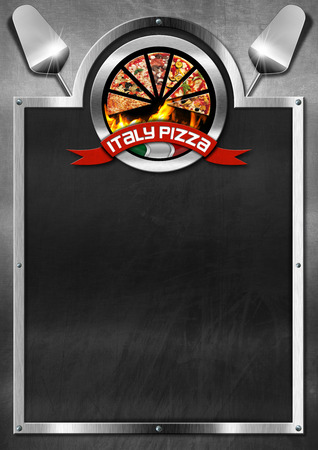 Blackboard with metal frame, symbol with pizza slices, Italian flag and red ribbon with text Italy pizza. Template for a italian pizza menu photo