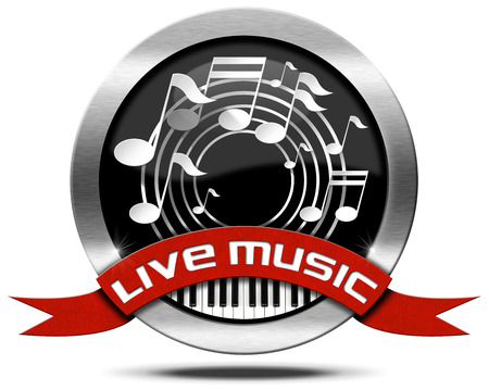 Metal icon or symbol with white musical notes, piano keyboard, red ribbon with text live music. Isolated on white background photo