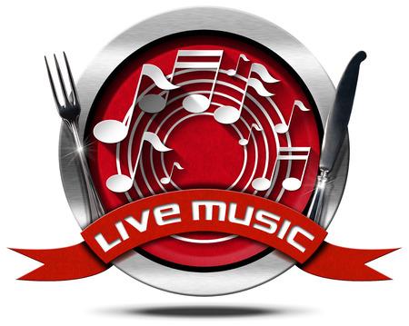 iconos de música: Icono o s�mbolo del metal con las notas musicales blancas, cinta roja con el texto de la m�sica en vivo y cubiertos de plata. Aislado en el fondo blanco Foto de archivo