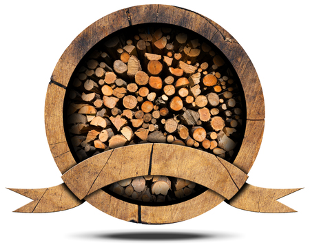 Wooden icon with dry cut firewood logs in a pile inside, empty wooden ribbon for text. Isolated on white background