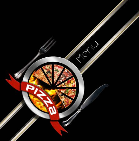 black metallic background: Pizza menu design with metallic round pizza symbol with red ribbon on black background with a diagonal band Stock Photo