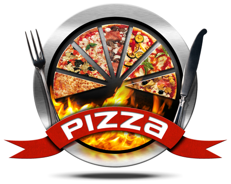 silver cutlery: Metal icon or symbol with slices of pizza, flames, red ribbon with text pizza and silver cutlery. Isolated on white background