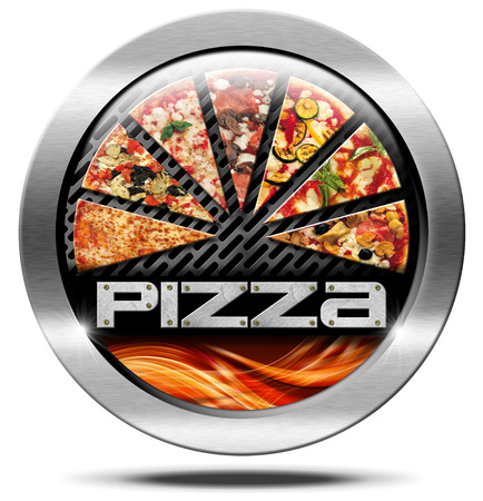 button mushroom: Metal round icon or symbol with pizza slices, flames and text pizza. Isolated on white background Stock Photo