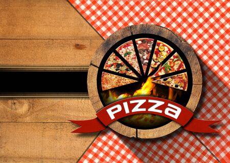 pizza: Fondo de madera con mantel rojo y blanco, s�mbolo con rebanadas de pizza y las llamas. Plantilla para un men� de pizza r�stico Foto de archivo
