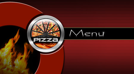 Pizza menu design with metallic round pizza symbol and flames on a black and red corrugated background with horizontal black band photo