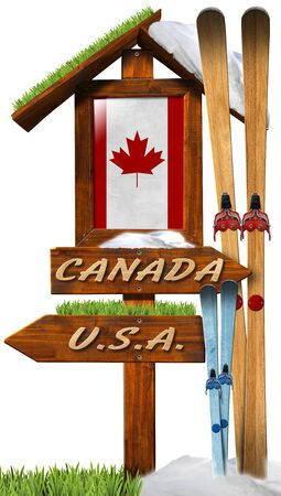 Wooden directional signal with text Usa and Canada, Canadian flag and skis. Concept of winter vacations in Canada photo