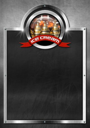 ice cream cart: Empty blackboard with metal frame, symbol with a ice cream cart and red ribbon with text ice cream. Template for a ice cream menu
