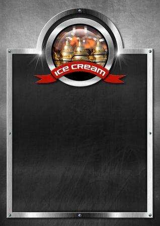 carretto gelati: Lavagna vuota con struttura in metallo, simbolo con un carretto dei gelati e nastro rosso con crema testo ghiaccio. Modello per un menu di gelato