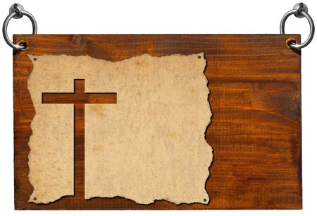 cross cut: Wooden signboard with christian cross cut in an old grungy or vintage parchment. Isolated on white background