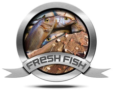 Round metallic icon with metallic ribbon, fresh fishes at market and fishing net. Isolated on a white background photo