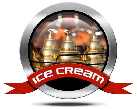 carretto gelati: Icona di metallo o un simbolo con stretta di un carretto dei gelati e nastro rosso con crema testo ghiaccio. Isolato su sfondo bianco Archivio Fotografico