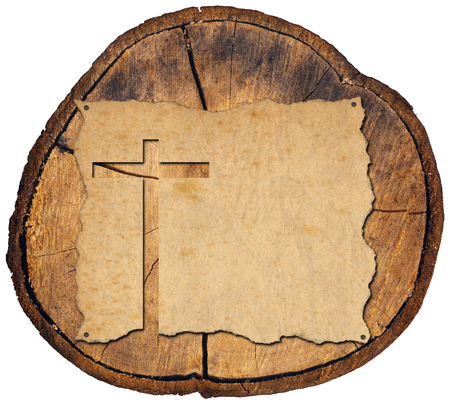 cross cut: Christian cross cut in an old grungy or vintage parchment on a section of tree trunk. Isolated on white background Stock Photo