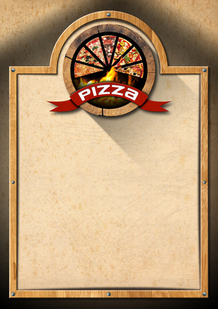 Signboard with wooden frame, empty brown old paper and symbol with slices of pizza. Template for a rustic pizza menu