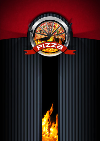 black metallic background: Pizza menu design with metallic round pizza symbol on a red, black and grey background with flames