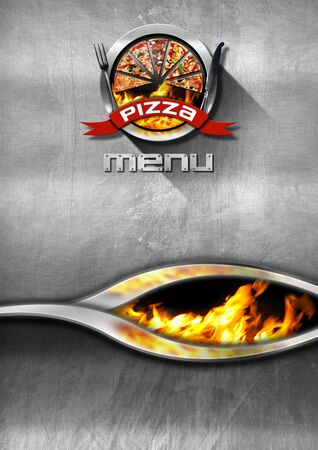 velvet ribbon: Pizza menu design with metallic round pizza symbol, silver cutlery and flames, on a steel background