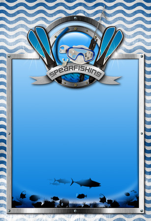 spearfishing: Vertical signboard with metal frame, landscape of the sea abyss, blue and white waves, spearfishing metal symbol. Template for spearfishing sport Stock Photo