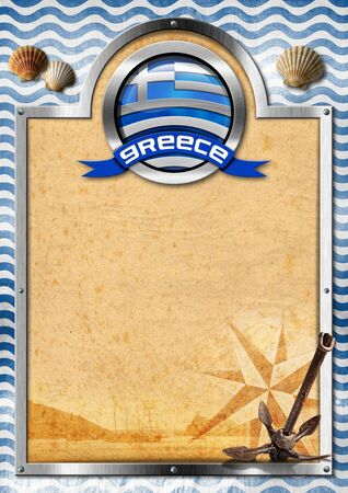Empty signboard with metal frame, symbol of Greece with Greek flag, seashells and rusty anchor on background with blue and white waves photo
