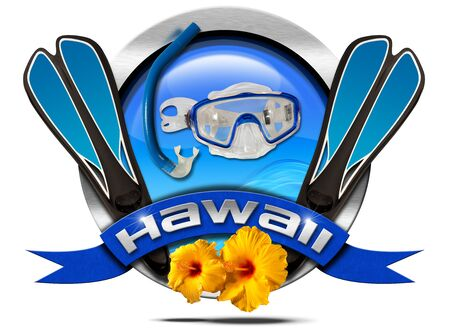 hawaii symbol: Metal icon or symbol with equipment for snorkeling, blue ribbon with text Hawaii and two orange hibiscus flowers. Isolated on white background