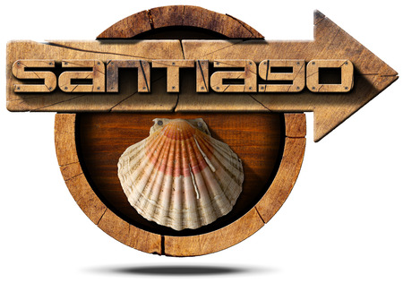 Pilgrimage wooden sign of Santiago de Compostela (Camino de Santiago) with an arrow and seashell. Isolated on white background photo