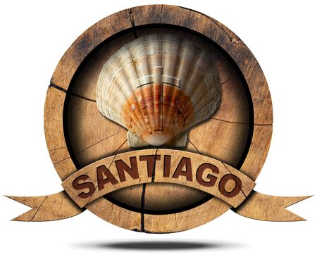 santiago: Pilgrimage wooden symbol of Santiago de Compostela with seashell. Isolated on white background