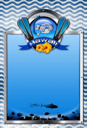 hawaii symbol: Vertical signboard with metal frame, metal symbol with equipment for snorkeling, blue ribbon with text Hawaii and two orange hibiscus flowers. Isolated on white background