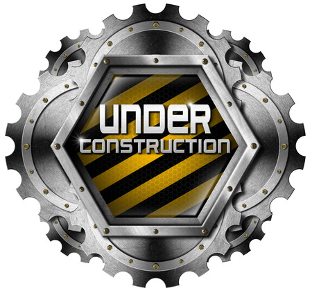 Hexagonal and metallic icon or symbol with gears and text under construction. Isolated on white background photo