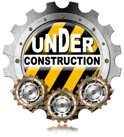 under construction sign: Metallic icon or symbol with gears and text under construction. Isolated on white background Stock Photo
