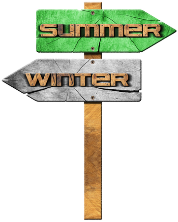 two arrows: Wooden directional sign with two arrows in opposite direction with text winter and summer isolated on white background.