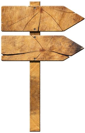 Wooden directional sign with two empty arrows in the same direction isolated on white background photo