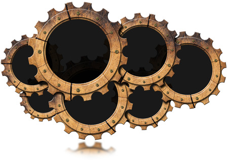 Seven wooden cogs forming a cloud isolated on white background. Concept of lumber industry photo