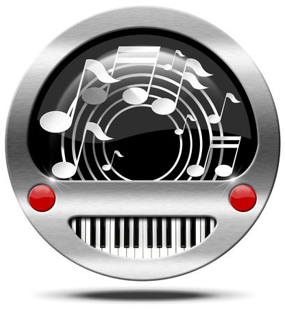 music buttons: Round metallic icon or symbol with white musical notes and piano keyboard. Isolated on white background