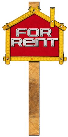 for rent: Yellow wooden meter ruler in the shape of house with text for rent. For rent real estate sign isolated on white background