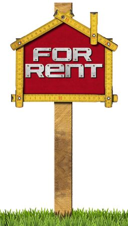 house for rent: Yellow wooden meter ruler in the shape of house with text for rent. For rent real estate sign isolated on white background with green grass Stock Photo