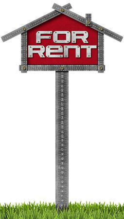 house for rent: Grey metallic meter ruler in the shape of house with text for rent. For rent real estate sign isolated on white background with green grass