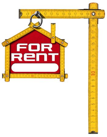 house for rent: Yellow wooden meter ruler in the shape of house with text for rent. For rent real estate sign isolated on white background