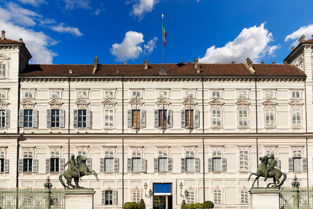 reale: Facade and entrance of the Royal Palace (Palazzo Reale), XVII - XVII century, in Turin (Torino) Piemonte, Italy. UNESCO world heritage site Editorial