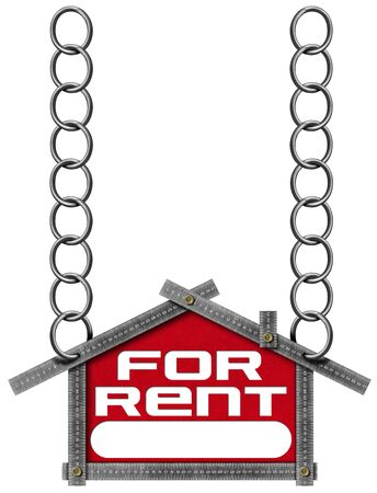 house for rent: Grey metallic meter ruler in the shape of house with text for rent. For rent real estate sign isolated on white background