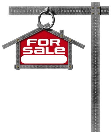 real estate sign: Grey metallic meter ruler in the shape of house with text for sale. For sale real estate sign isolated on white background