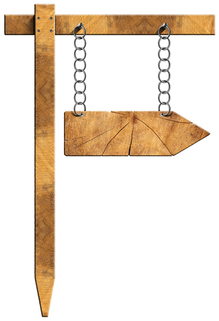 Wooden directional sign with one empty arrow hanging with metal chain on a wooden pole and isolated on a white background photo