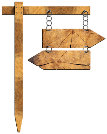 opposite arrows: Wooden directional sign with two empty arrows in opposite direction hanging with a metal chain on a wooden pole and isolated on a white background
