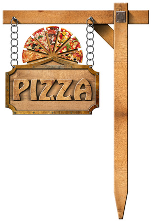 Wooden sign with metal frame and text pizza slices of pizza on cutting board. Hanging from a chain on wooden pole and isolated on white photo