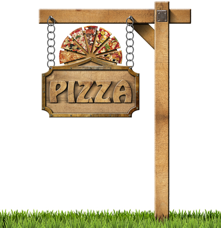 Sign with frame and text pizza slices of pizza on cutting board. Hanging from a chain on wooden pole and isolated on white with green grass photo