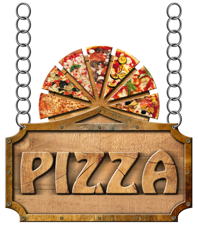 timber cutting: Wooden sign with metal frame and text pizza slices of pizza on cutting board. Hanging on a metal chain and isolated on a white background Stock Photo